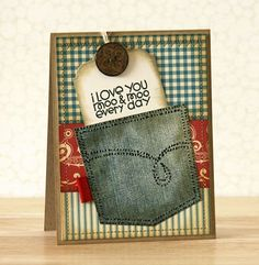 I'd like to try something like this with real denim and stitching and stickles.  from justgivemestamps.typepad.com