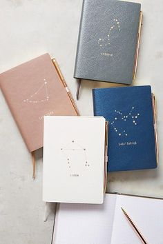 Anthropologie Zodiac Journal. I have always been so drawn to all things astrology. This would be perfect for an ART journal (or any type of journal)! Which I am creating now and having so much fun with!  | affiliate | journaling | bullet journal | art journal |