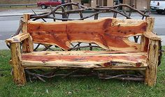 Find unique ideas for making DIY outdoor bench to decorate your garden and patio in a creative way. Make bench with wood logs,pallets,cinder Cedar Furniture, Rustic Log Furniture, Tree Furniture, Outside Furniture, Rustic Bench, Garden Furniture, Outdoor Furniture, Furniture Dolly, Handmade Furniture