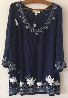 Simply Noelle Embroidered Bell Tunic Navy Blue White Floral Sz S/M 8-10 NEW #SimplyNoelle #Tunic #Casual