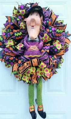 Halloween Witch Wreath-Witch by StudioWhimsybyBabs on Etsy