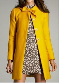 Yellow coat with bow :)
