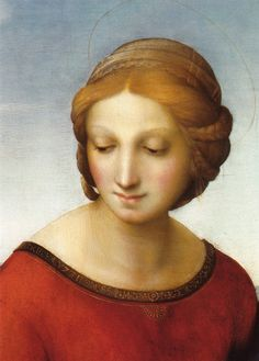 Raphael (Raffaello Sanzio da Urbino) ~ Madonna in the Meadow (detail), 1505-06