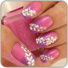 Pink & purple nails with white.