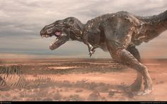 tyrannosaur in a dessert with detailed scales