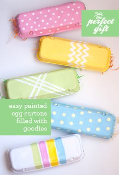 DIY: Easy Painted Egg Cartons from @Design Mom. Paint your empty egg cartons with pretty pastel colors and patterns. Fill the empty egg spots with toys, trinkets and candy for Easter. Add your standard Easter grass for filler.