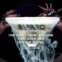 Pinnacle® Halloweenie-tini I part Pinnacle® Caramel Apple Vodka 2 parts juice of apple Eye of newt (optional) Conjure friends. #halloween #cocktails