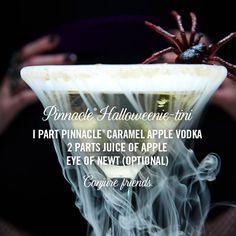 Pinnacle® Halloweenie-tini I part Pinnacle® Caramel Apple Vodka 2 parts juice of apple Eye of newt (optional) Conjure friends. #halloween #cocktails