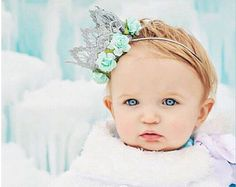 Frozen Queen Elsa   ice princess silver lace crown headband   aqua floral flowers   1st birthday   photography prop   ORIGINAL DESIGN