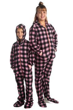 Hoodie Footed Onesie Buffalo Pink & Black Plaid Fleece Footed Pajamas for Boys & Girls Onesie Pajamas, Fleece Pajamas, Boys Pajamas, Pajamas Women, Fleece Hoodie, Black Plaid, Pink Black, Buffalo Plaid Pajamas, Pet Sweaters