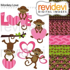Monkey Love - cute clipart and coordinating papers for your craft and creative projects.