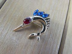 Vtg Coro Pin Swordfish Sailfish Marlin Fish Jeweled Rhinestone Brooch Pin #Coro