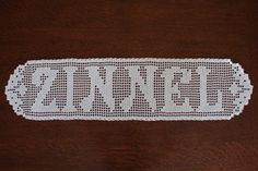 Filet Crochet name doily by TekasTreasures on Etsy, $35.00