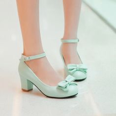 Chunky Heel Shoes, Ankle Strap Shoes, Bow Shoes, Pump Shoes, High Heel Pumps, Strappy Shoes, Wedding Shoes Heels, Bridal Shoes, Pretty Shoes