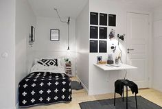 Black and White decor.Solutions for small areas.Swiss cross throw