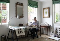 The artist Pablo Bronstein sitting at a table at his home Room Chairs, Installation Art, A Table, Interiors, Furniture, Vitamin D2, Spaces, London, Magpie