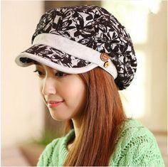 Womens lace newsboy cap for autumn flower design