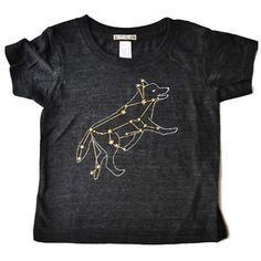 Beautiful Black & Gold Wolf / Lupus constellation baby shirt, by Little Lark