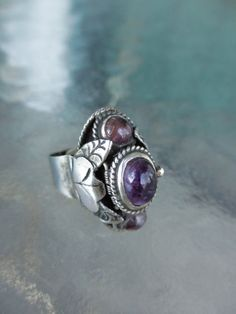 50's Vintage Mexican Sterling Amethyst Poison by PaisleyBabylon