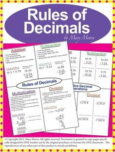 Completely Free - Rules of Decimals Complete Lesson Freebie with classwork, quiz and more! An Excellent Teaching Resource. A Free Sample of my work on Adding, Subtracting, Multiplying, and Dividing Decimals. A Great review or teaching lesson on decimal operations for Grades 4 through Grade 8