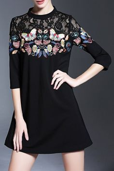 Dantinglisi Black Lace Panel Embroidered A Line Dress | Mini Dresses at DEZZAL Click on picture to purchase!