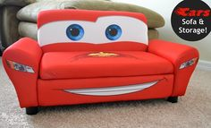 Disney's Cars Lightening McQueen upholstered sofa with storage review. Delta Children offers a variety of Disney themed kids furniture for boys and girls.