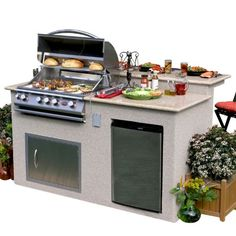 Cal Flame e6016 Outdoor Kitchen 4-Burner Barbecue Grill Island With Refrigerator - great for the deck