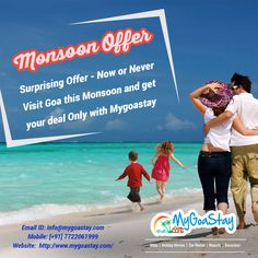 Get exciting offers on Villa Bookings, Hotel Bookings, Vacation Apartment Bookings this monsoon through mygoastay.com for your stay in Goa. For more details Contact Name: My Goa Stay Number: 7722061999 E-mail:info@mygoastay.com