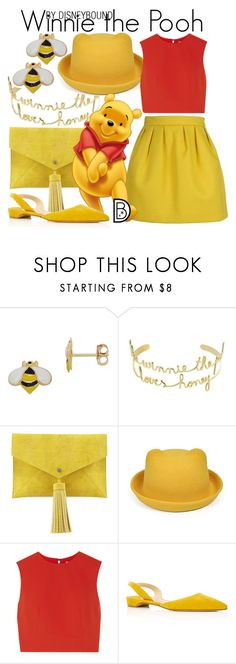 """""""Winnie the Pooh"""" by leslieakay ❤ liked on Polyvore featuring Maison Kitsuné, Lord & Taylor, VANINA, Neiman Marcus, Alice + Olivia, Paul Andrew, disney, disneybound and disneycharacter"""
