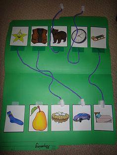 Rhyming Folders- string and velcro to match rhyming words. Could use for anything you want to match, make self checking with answer hidden on backs of cards interchange cards to keep interest