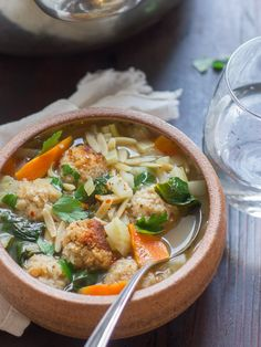 Cannellini bean meatballs, tender spinach, fennel, and orzo pasta go into this cozy vegan Italian wedding soup.
