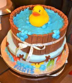 Rubber Duck bathtub cake (bathtub made of kit kat bars).