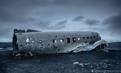 Famous plane wreck on black sand beach, Iceland