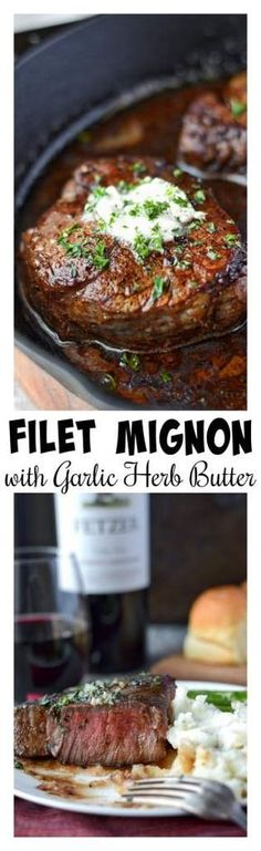 This Filet Mignon with Garlic herb butter recipe is juicy and melt in your mouth tender. Topped off with a delicious garlic herb butter. #filetmignon #steak #holidays #garlicherbbutter