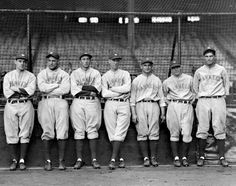 The gang's all here! Yankee Stadium was home to some of the greatest players in baseball history, including the 1928 dream team that would go on to beat the St. Louis Cardinals in the World Series. Pictured here (l. - r.), Leo Durocher, Lou Gehrig, Tony Lazzeri, Joe Dugan, Benny Begough, Gene Roberston and Mark Koeing pose at the ballpark in 1928.