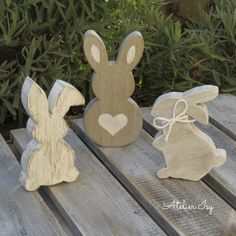 Easter decorations wooden shabby bunnies