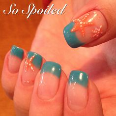 Bio Sculpture Gel Nail Art & Design. Spring 2015 or Winter Getaway nails in Aqua with simple hand painted coral starfish.
