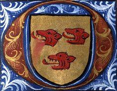 Armes de Mathieu de La Celle (détail f°20) -- «Martyrologe-obituaire du prieuré de La Haye-aux-Bonshommes», Anjou (France), 1475-1499 [BM d'Angers, Ms. 855] -- d'or à trois têtes de lion de gueules.