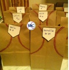 What a great idea for the kiddos thats in softball or baseball for snacks on trips. (for my coach pitch girls) Softball Treats, Baseball Treats, Softball Party, Baseball Party, Baseball Gifts, Softball Mom, Baseball Season, Softball Drills, Softball Stuff