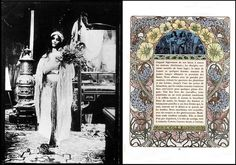 """Alphonse Mucha - Clôches de Noël et de Pâques (Bells of Christmas and Easter) c.1900    Pictured alongside Mucha's own black & white photograph study for the illustration on P.77, c.1900.    The """"Clôches de Noël et de Pâques"""" (Bells of Christmas and Easter) is a collection of tales by Émile Gebhart, a writer heavily steeped in mysticism."""
