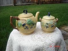 Antique Majolica Basketweave Blackberry Teapot and Sugar Holder Beautiful | eBay