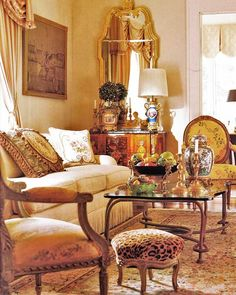 Country French living room - gilded mirror, fauteuil side chairs, inlay chest, leopard footstool and aubusson pillows. French Living Rooms, French Country Living Room, French Cottage, French Country Style, My Living Room, Cottage Living, Country Kitchen, French Decor, French Country Decorating