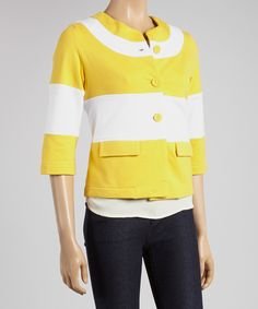 Yellow Stripe Swing Blazer.