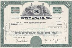Ryder System stock and bond certificates Awesome Definition, Miami Dade County, Supply Chain Management, Financial Markets, Male Figure, Certificate, North America, Marketing