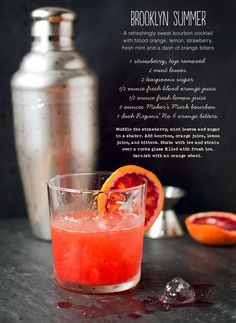 Fresh ingredients make this Brooklyn Summer Bourbon Cocktail from Kitchen La Boheme tasty #Strawberry #BloodOrange #Lemon