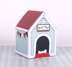 Dog House Treats Box ,Printable, Large, Pet Gift, Wooden Kennel, Bunting, Dog Gift, Dog Food, Toy box, Good Dog, New Puppy Present