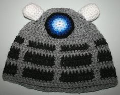 Dr Who Dalek Inspired Hand Made Crochet Hat by PamsHappyhats, £5.00