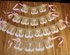 First Birthday Burlap Lace Package,  Happy Birthday, First Birthday, Name Banner, shabby Chic on Etsy, $50.00