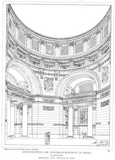 Rendering of the interior of the Church at the Central Cemetery, Vienna