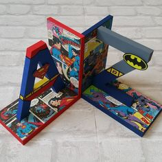 Hand Painted and Comic Boy Toddler Bedroom, Toddler Rooms, Kids Bedroom, Superhero Boys Room, Bedroom Themes, Bedroom Ideas, Kid Spaces, Playroom, Bookends